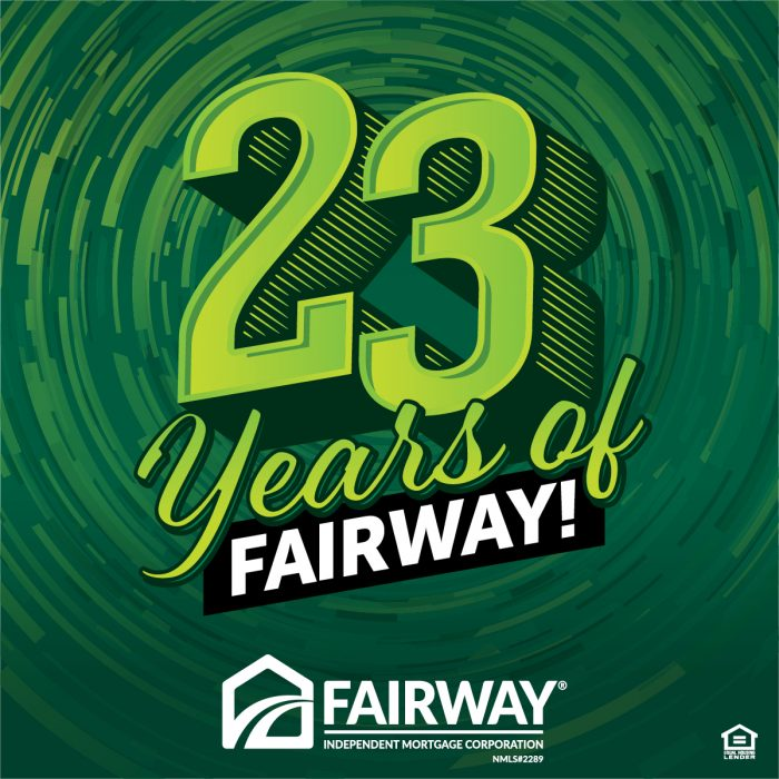 Bold green text that says 23 Years of Fairway with the Fairway logo