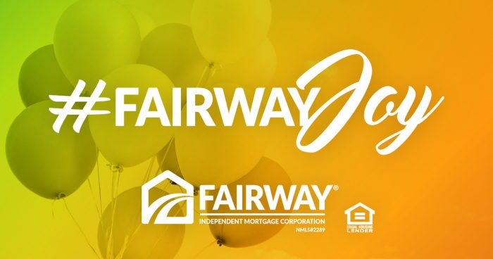 Fairway Joy text over a background of balloons