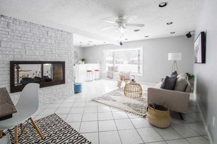 A bright and clean open living room space
